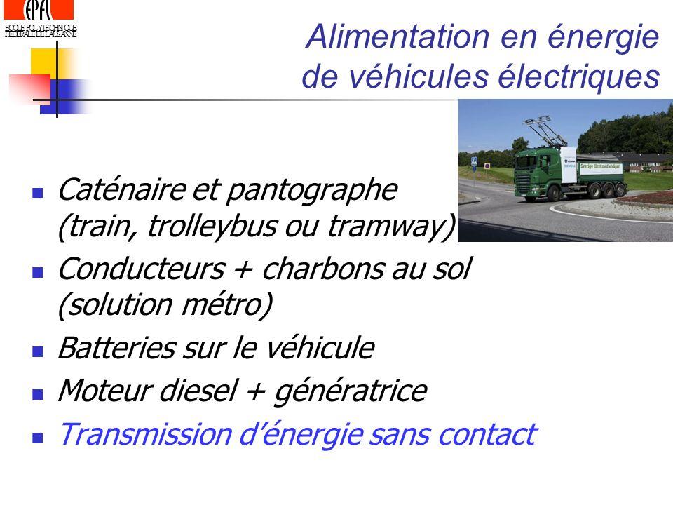 ECOLE POLYTECHNIQUE FEDERALE DE LAUSANNE Alimentation en énergie de véhicules électriques Caténaire et pantographe (train, trolleybus ou tramway) Cond