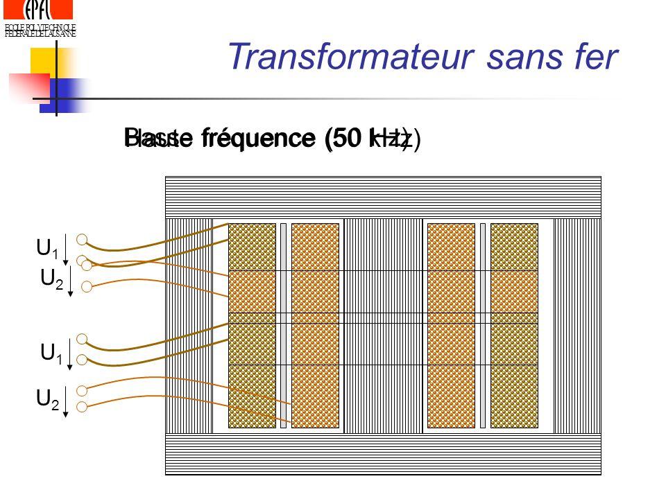 ECOLE POLYTECHNIQUE FEDERALE DE LAUSANNE U1U1 U2U2 Transformateur sans fer Basse fréquence (50 Hz) Haute fréquence (50 kHz) U1U1 U2U2