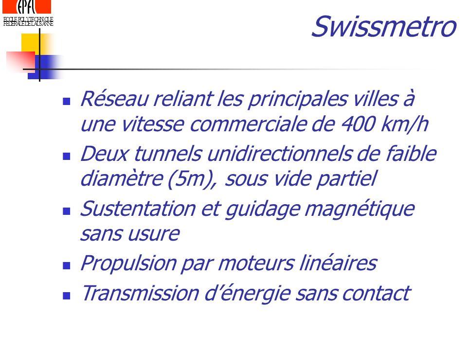 ECOLE POLYTECHNIQUE FEDERALE DE LAUSANNE Réseau reliant les principales villes à une vitesse commerciale de 400 km/h Deux tunnels unidirectionnels de