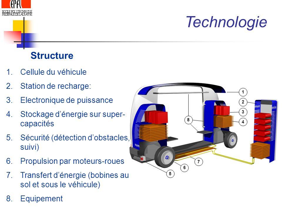 ECOLE POLYTECHNIQUE FEDERALE DE LAUSANNE Structure 1 2 3 4 8 5 6 7 Technologie 1.Cellule du véhicule 2.Station de recharge: 3.Electronique de puissanc