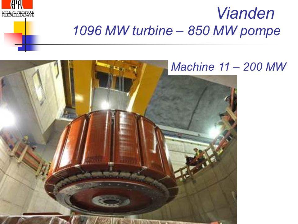 ECOLE POLYTECHNIQUE FEDERALE DE LAUSANNE Vianden 1096 MW turbine – 850 MW pompe Machine 11 – 200 MW