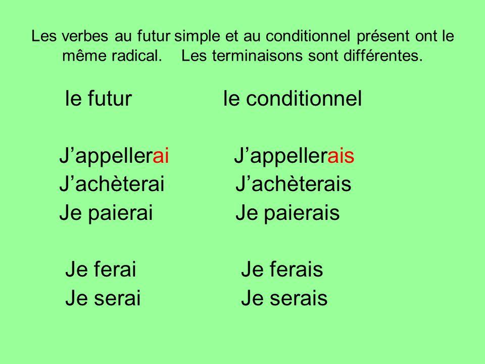 Les verbes au futur simple et au conditionnel présent ont le même radical. Les terminaisons sont différentes. le futurle conditionnel Jappellerai Japp
