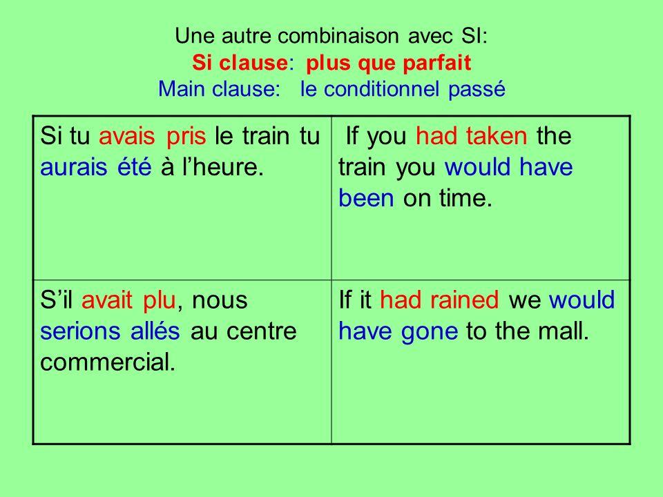Une autre combinaison avec SI: Si clause: plus que parfait Main clause: le conditionnel passé Si tu avais pris le train tu aurais été à lheure. If you