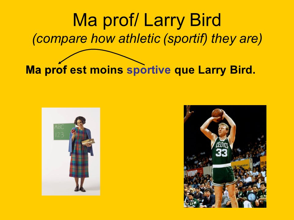 Ma prof/ Larry Bird (compare how athletic (sportif) they are) Ma prof est moins sportive que Larry Bird.Ma prof
