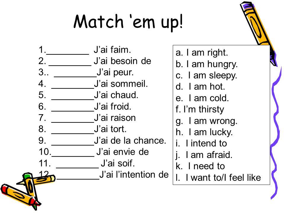 Match em up.1.________ Vous faites la vaisselle. 2.