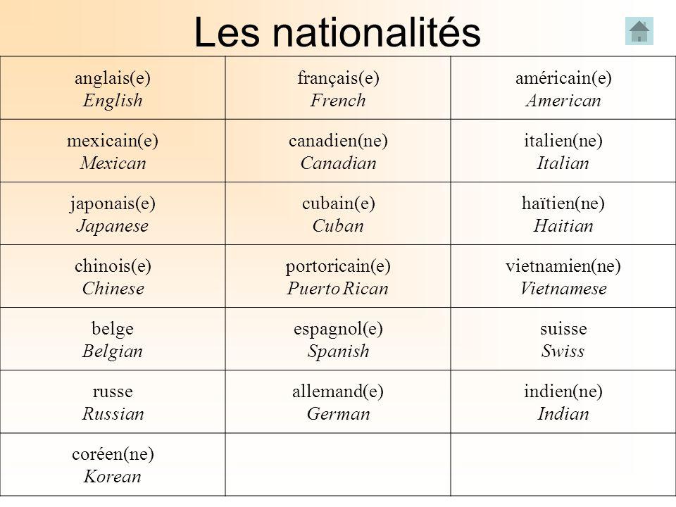 Les nationalités anglais(e) English français(e) French américain(e) American mexicain(e) Mexican canadien(ne) Canadian italien(ne) Italian japonais(e)