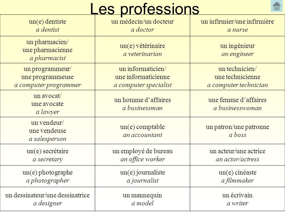 Les professions un(e) dentiste a dentist un médecin/un docteur a doctor un infirmier/une infirmière a nurse un pharmacien/ une pharmacienne a pharmaci