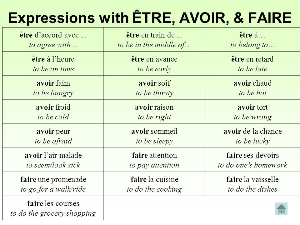 Expressions with ÊTRE, AVOIR, & FAIRE être daccord avec… to agree with… être en train de… to be in the middle of… être à… to belong to… être à lheure