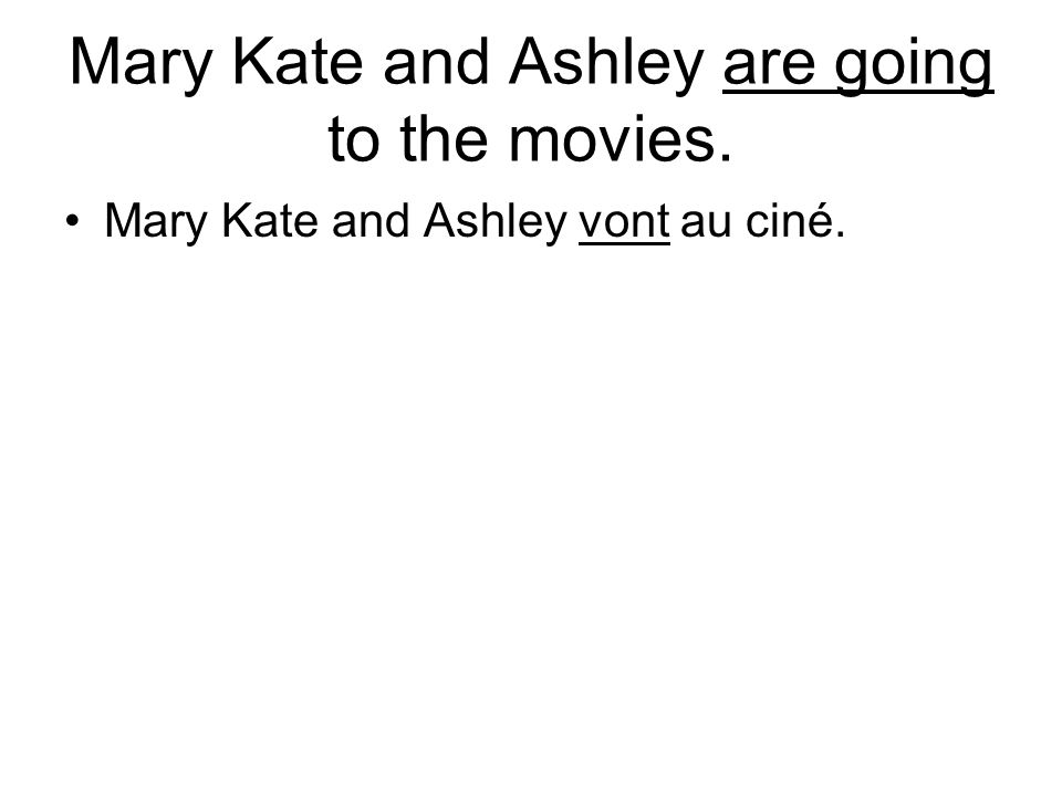 Mary Kate and Ashley are going to the movies. Mary Kate and Ashley vont au ciné.
