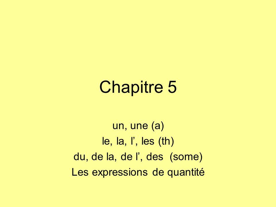 Chapitre 5 un, une (a) le, la, l, les (th) du, de la, de l, des (some) Les expressions de quantité