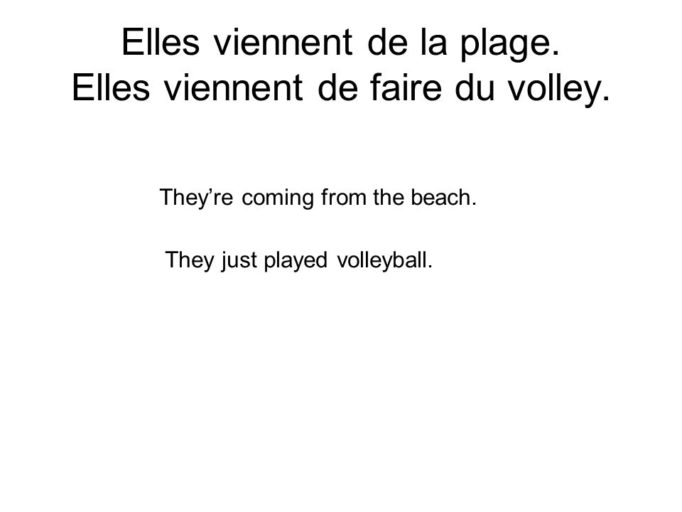 Elles viennent de la plage. Elles viennent de faire du volley. Theyre coming from the beach. They just played volleyball.