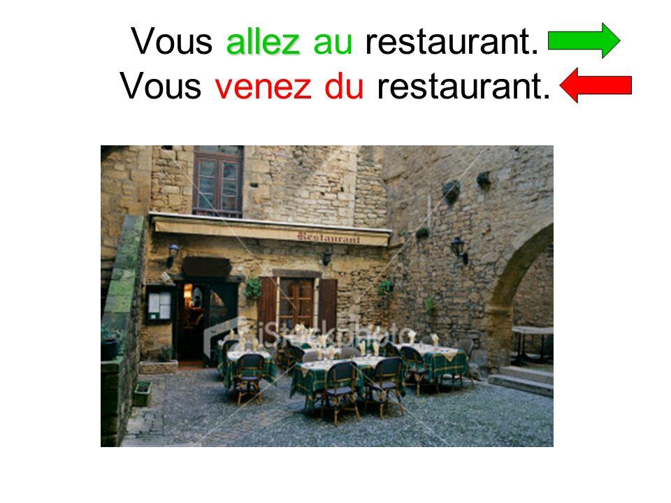 allez Vous allez au restaurant. Vous venez du restaurant.