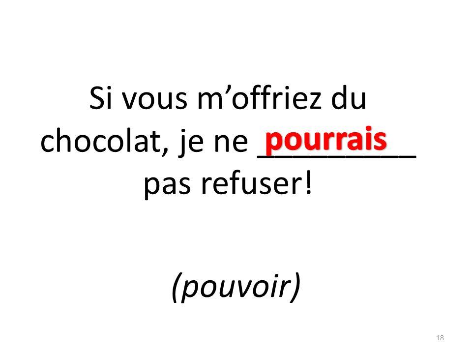 Si vous moffriez du chocolat, je ne _________ pas refuser! (pouvoir) 18
