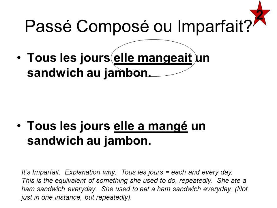 Tous les jours elle mangeait un sandwich au jambon. Tous les jours elle a mangé un sandwich au jambon. Passé Composé ou Imparfait? 2 Its Imparfait. Ex