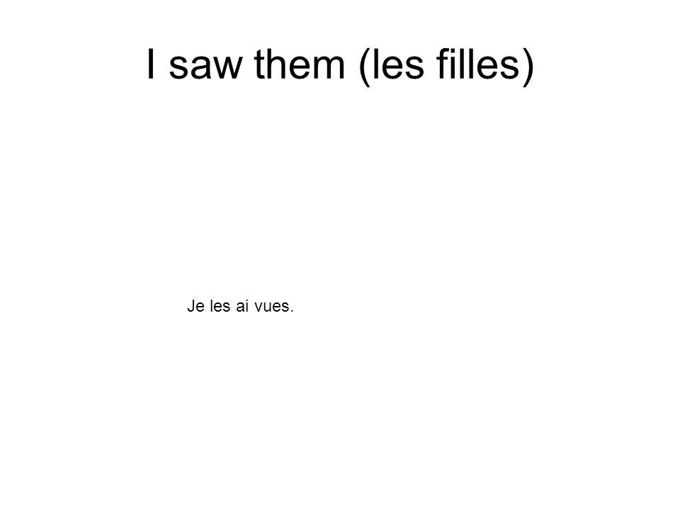 I saw them (les filles) Je les ai vues.