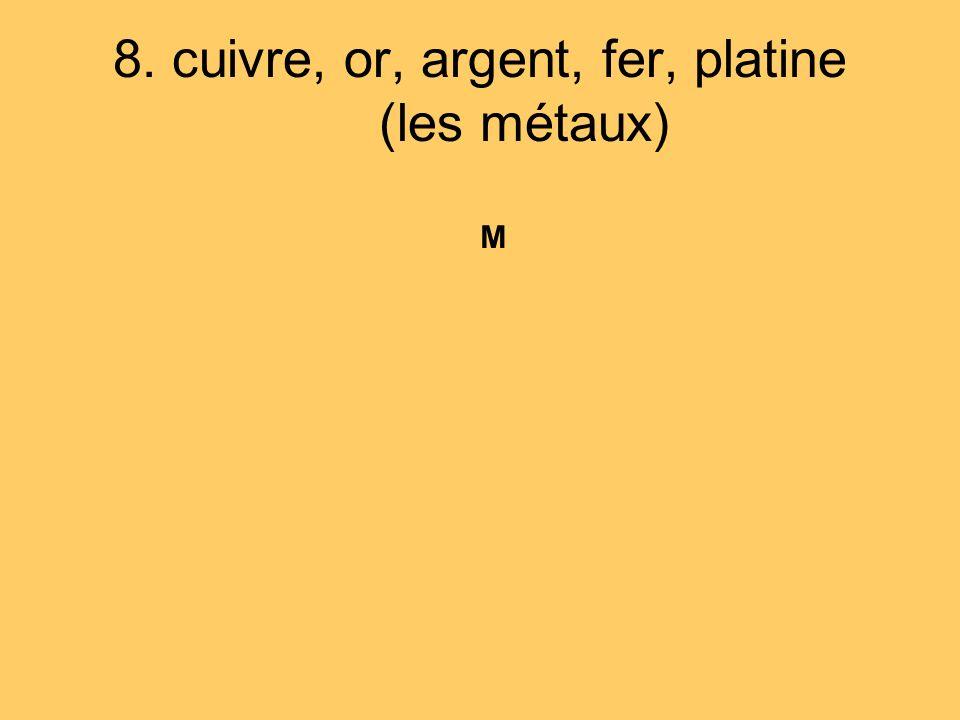 8. cuivre, or, argent, fer, platine (les métaux) M