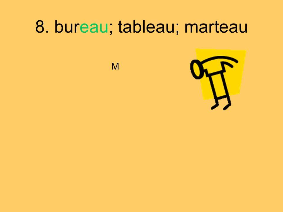 8. bureau; tableau; marteau M
