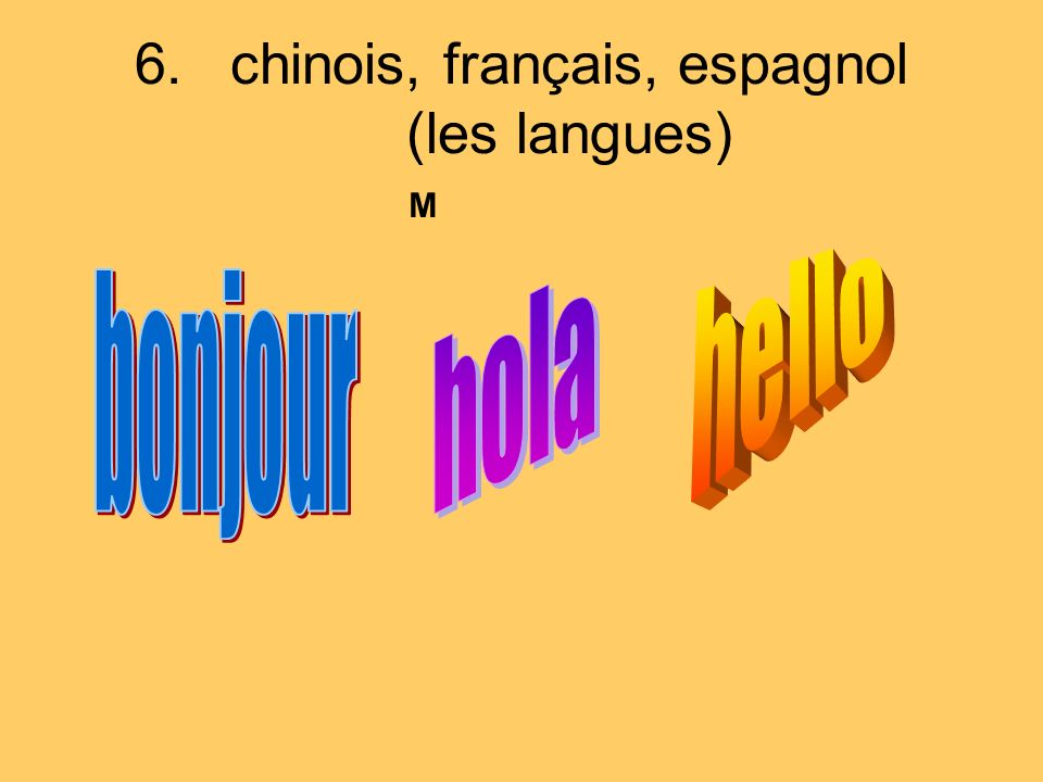 6.chinois, français, espagnol (les langues) M