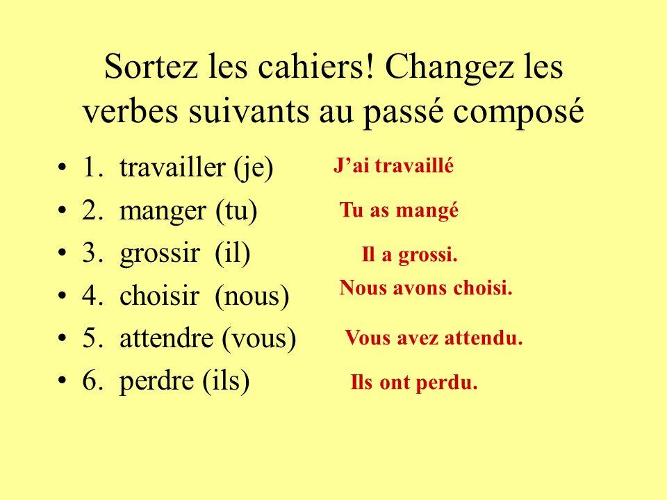 Sortez les cahiers. Changez les verbes suivants au passé composé 1.