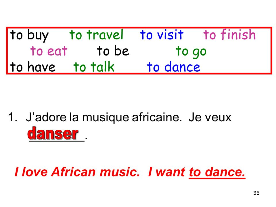 35 to buy to travel to visitto finish to eat to be to go to have to talk to dance 1.Jadore la musique africaine.