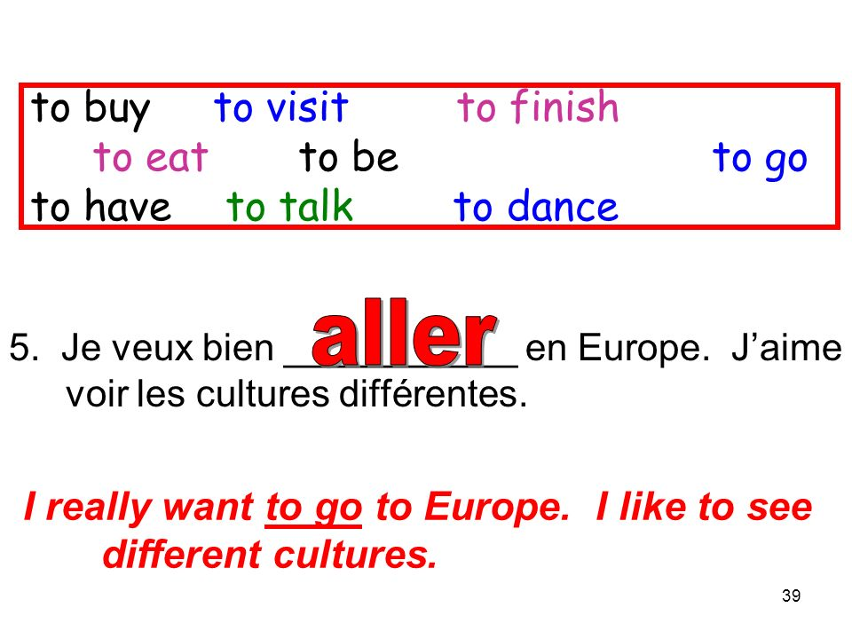 39 5. Je veux bien ___________ en Europe. Jaime voir les cultures différentes. I really want to go to Europe. I like to see different cultures. to buy