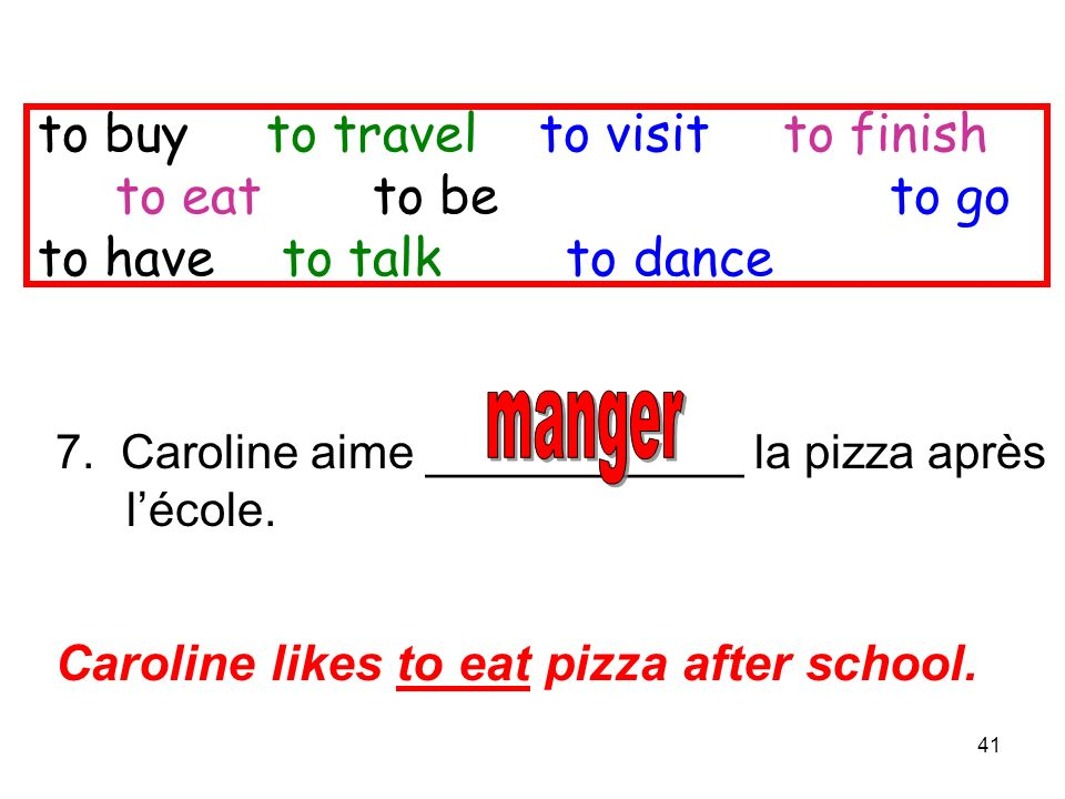 41 7. Caroline aime ____________ la pizza après lécole. Caroline likes to eat pizza after school. to buy to travel to visitto finish to eat to be to g