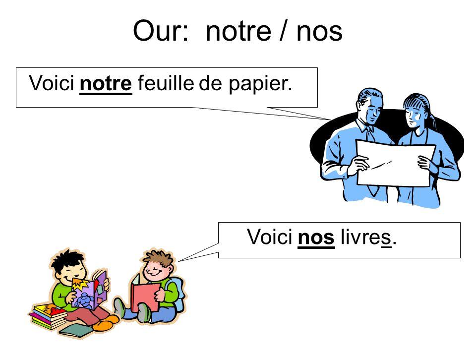 Our: notre / nos Voici notre feuille de papier. Voici nos livres.
