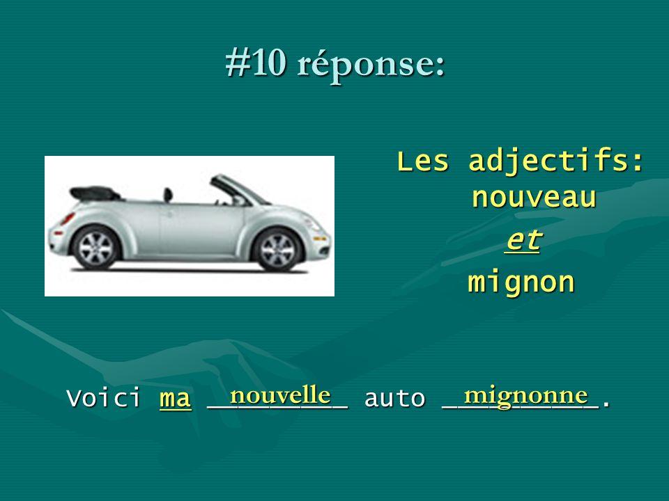 #10 réponse: Les adjectifs: nouveau etmignon Voici ma _________ auto __________. nouvellemignonne