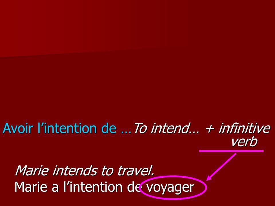 Marie intends to travel. Marie a lintention de voyager. Avoir lintention de …To intend… + infinitive verb