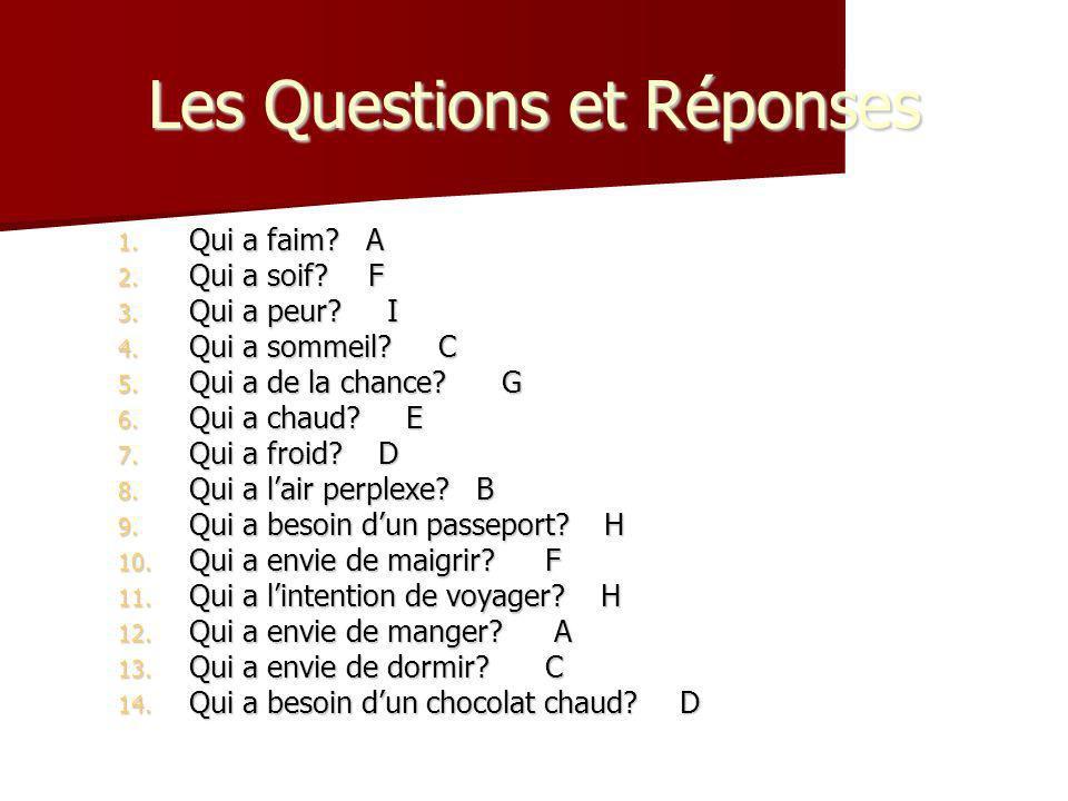 Les Questions et Réponses 1. Qui a faim? A 2. Qui a soif? F 3. Qui a peur? I 4. Qui a sommeil? C 5. Qui a de la chance? G 6. Qui a chaud? E 7. Qui a f