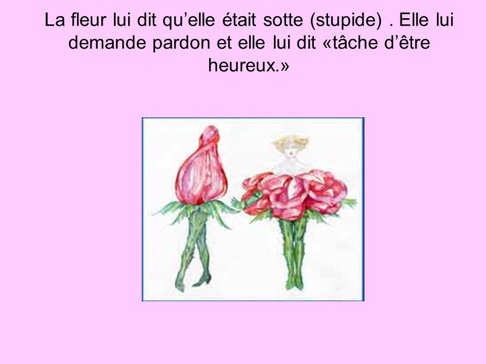 La fleur lui dit quelle était sotte (stupide). Elle lui demande pardon et elle lui dit «tâche dêtre heureux.»