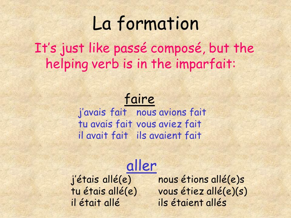 La formation Its just like passé composé, but the helping verb is in the imparfait: faire aller javais faitnous avions fait tu avais faitvous aviez fa