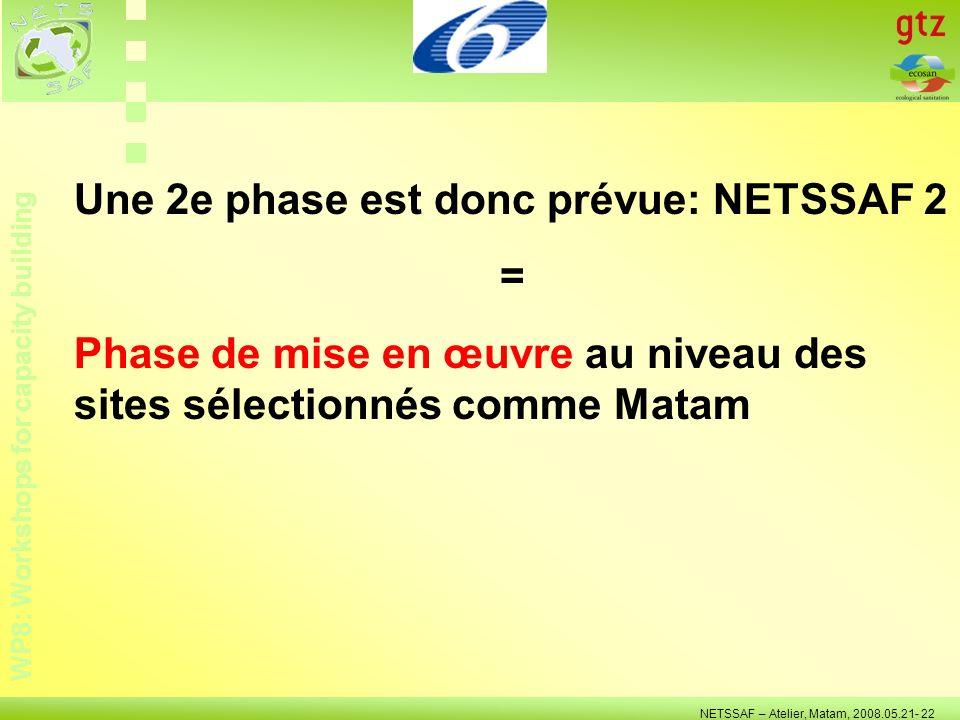 WP8: Workshops for capacity building NETSSAF – Atelier, Matam, 2008.05.21- 22 Une 2e phase est donc prévue: NETSSAF 2 = Phase de mise en œuvre au nive