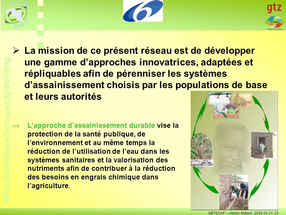 WP8: Workshops for capacity building NETSSAF – Atelier, Matam, 2008.05.21- 22 Le résultat principal sera le développement dun outil dappui participatif à la planification et à la gestion de lassainissement pour les multiples parties prenantes du secteur.