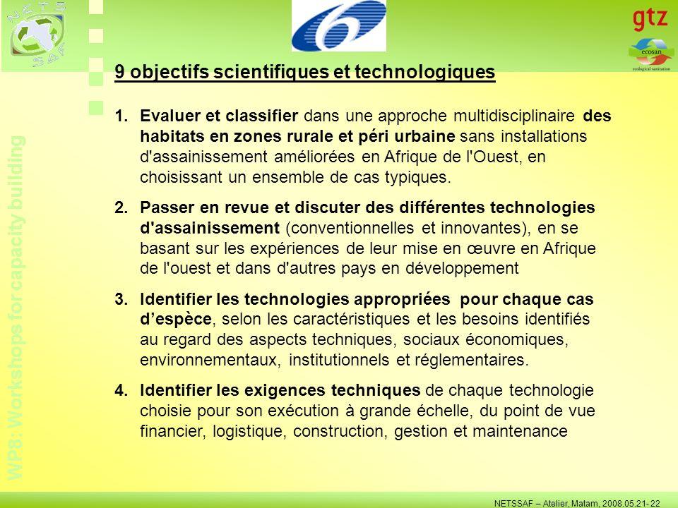 WP8: Workshops for capacity building NETSSAF – Atelier, Matam, 2008.05.21- 22 5.Identifier les exigences non techniques de chaque technologie choisie pour son exécution à grande échelle, du point de vue humain, financier, économique, 6.Identifier, localiser et informer les fournisseurs régionaux sur les exigences de chaque technologie d assainissement choisie, afin de préparer une base de données des fournisseurs des technologies sanitaires en Afrique de l Ouest.