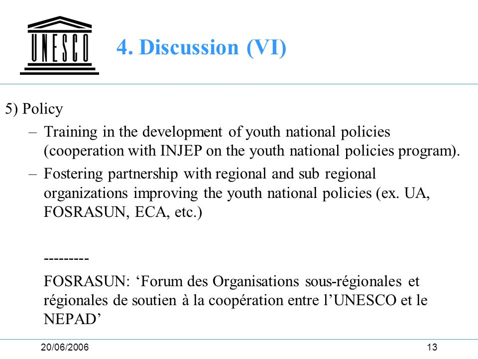 20/06/200613 4. Discussion (VI) 5) Policy –Training in the development of youth national policies (cooperation with INJEP on the youth national polici