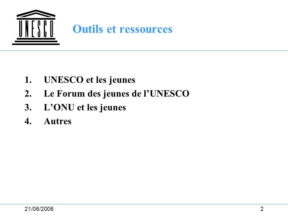 21/06/20063 1. UNESCO et les jeunes