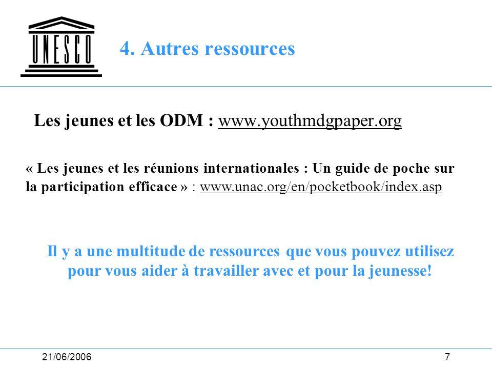 21/06/20068 4. Autres ressources (II) Et bien sûr… vous! Vos suggestions?