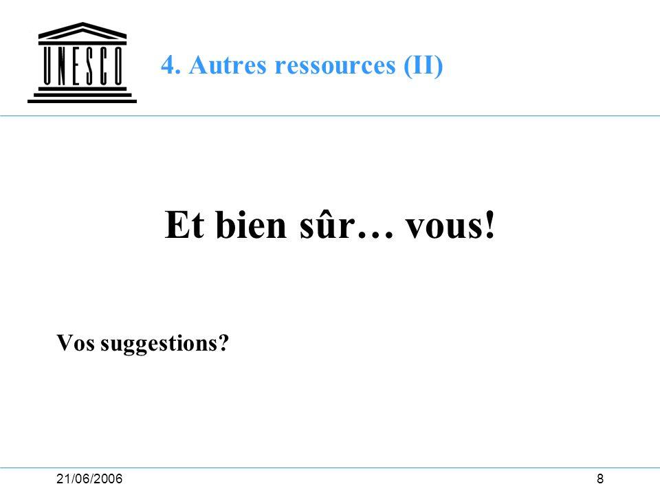21/06/20068 4. Autres ressources (II) Et bien sûr… vous! Vos suggestions