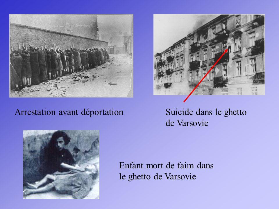 Arrestation avant déportation Enfant mort de faim dans le ghetto de Varsovie Suicide dans le ghetto de Varsovie