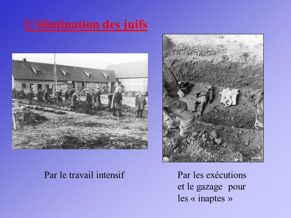Lélimination des juifs Par le travail intensifPar les exécutions et le gazage pour les « inaptes »