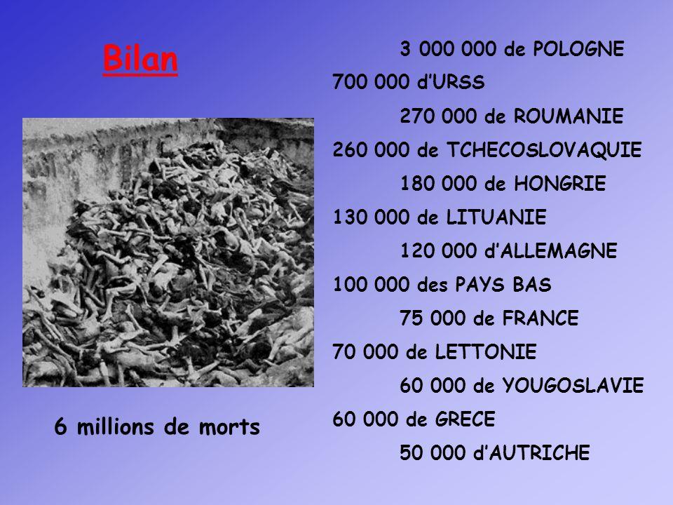 3 000 de POLOGNE 700 000 dURSS 270 000 de ROUMANIE 260 000 de TCHECOSLOVAQUIE 180 000 de HONGRIE 130 000 de LITUANIE 120 000 dALLEMAGNE 100 000 des PA