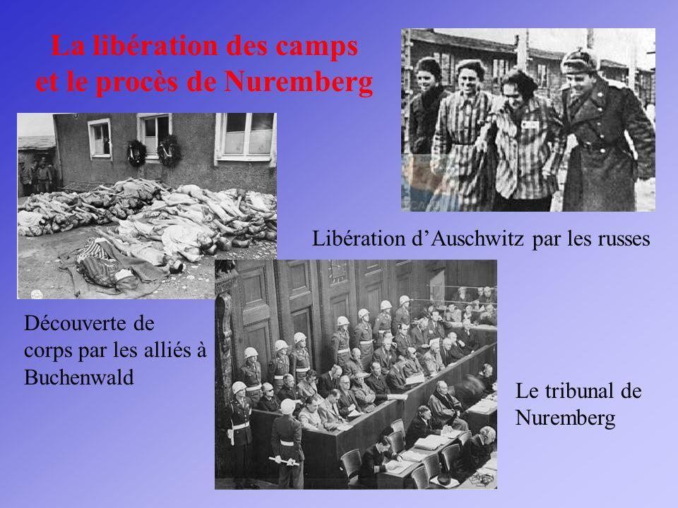 La libération des camps et le procès de Nuremberg Découverte de corps par les alliés à Buchenwald Libération dAuschwitz par les russes Le tribunal de