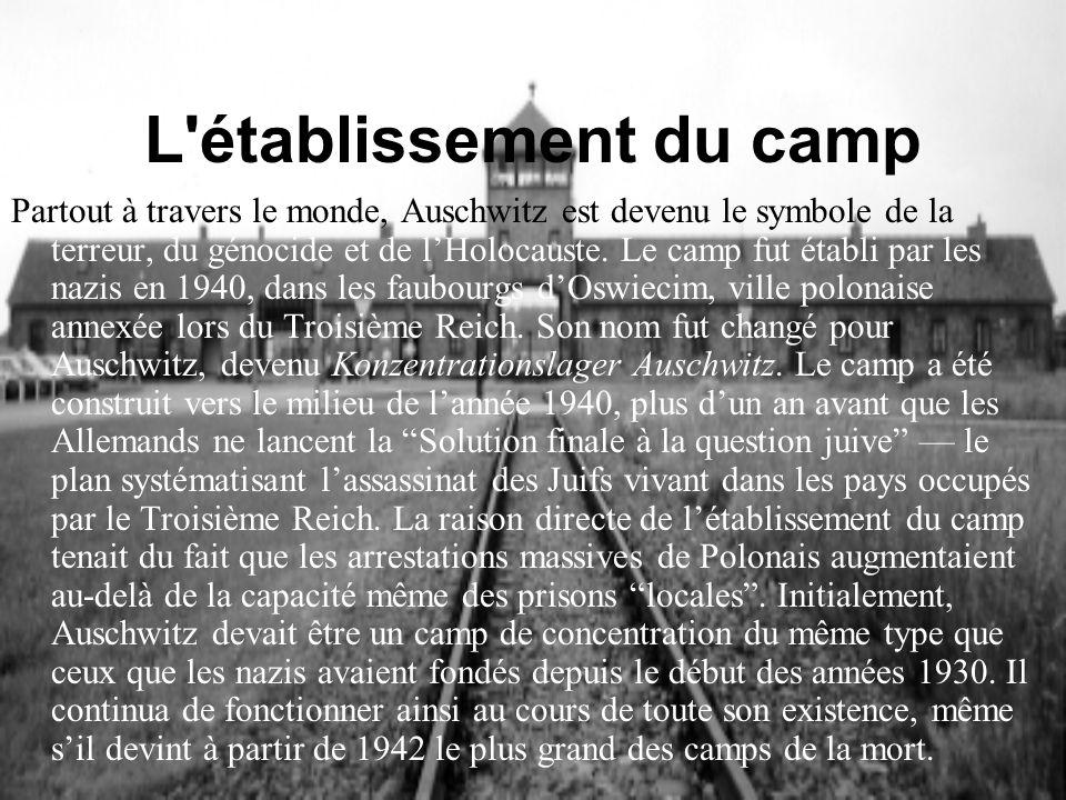 L'établissement du camp Partout à travers le monde, Auschwitz est devenu le symbole de la terreur, du génocide et de lHolocauste. Le camp fut établi p