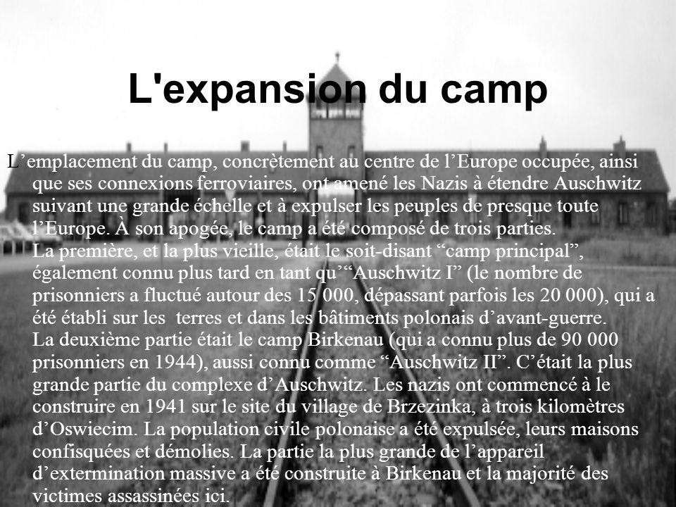 L'expansion du camp Lemplacement du camp, concrètement au centre de lEurope occupée, ainsi que ses connexions ferroviaires, ont amené les Nazis à éten