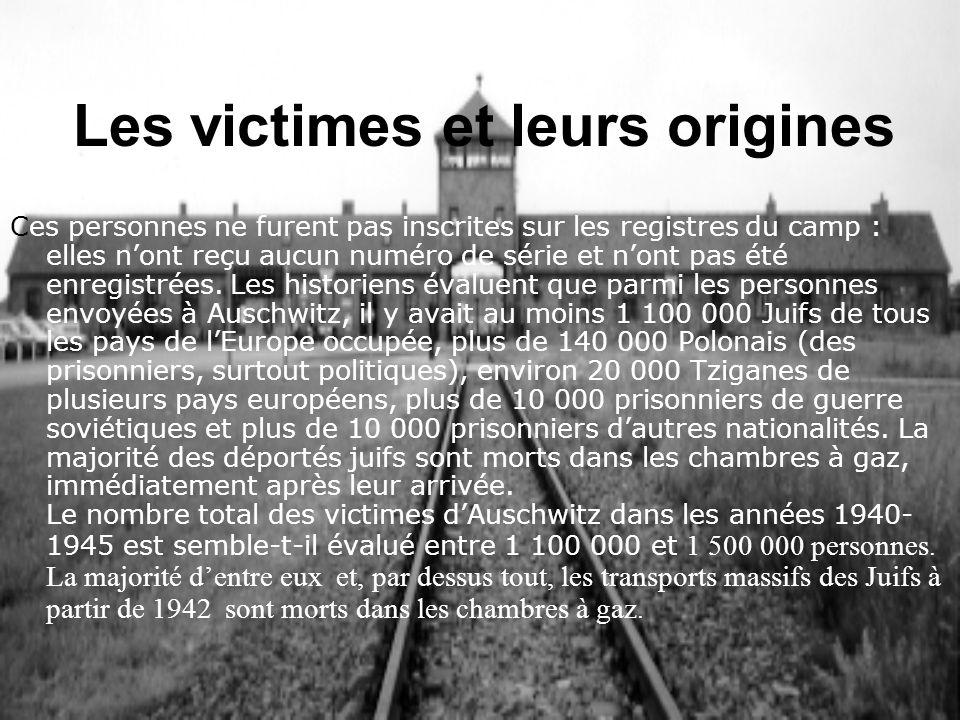 Les victimes et leurs origines Ces personnes ne furent pas inscrites sur les registres du camp : elles nont reçu aucun numéro de série et nont pas été
