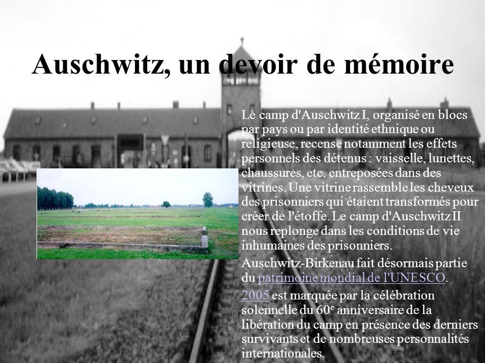 Auschwitz, un devoir de mémoire Le camp d'Auschwitz I, organisé en blocs par pays ou par identité ethnique ou religieuse, recense notamment les effets