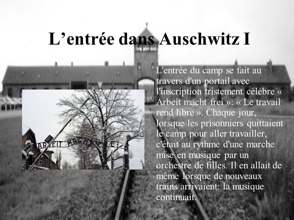 Lentrée dans Auschwitz I L'entrée du camp se fait au travers d'un portail avec l'inscription tristement célèbre « Arbeit macht frei »: « Le travail re
