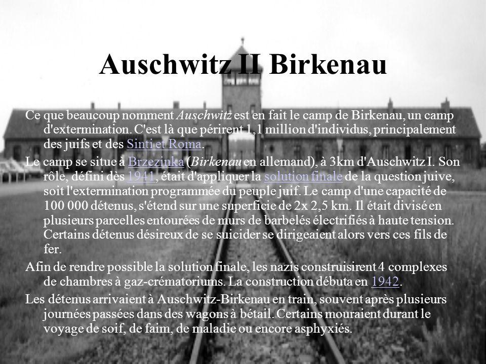 Auschwitz II Birkenau Ce que beaucoup nomment Auschwitz est en fait le camp de Birkenau, un camp d'extermination. C'est là que périrent 1,1 million d'