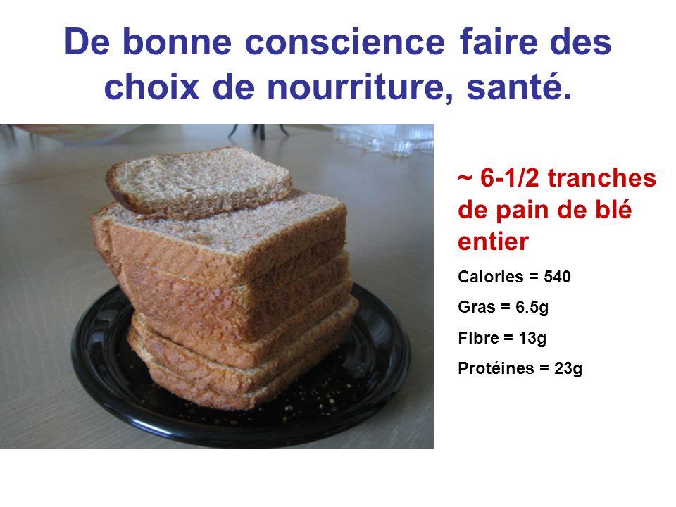 De bonne conscience faire des choix de nourriture, santé. ~ 6-1/2 tranches de pain de blé entier Calories = 540 Gras = 6.5g Fibre = 13g Protéines = 23